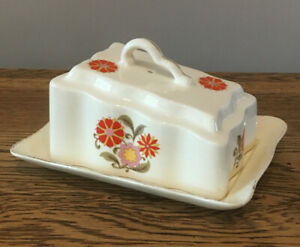 Vintage-Cheese-Butter-Dish-Retro-Made-In-Romania-Ceramic-Floral