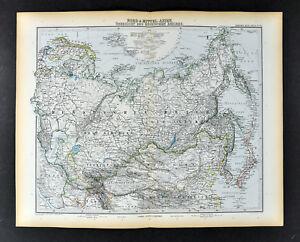 Map Of Upper Asia.1892 Stieler Map Russia Siberia Asia China Japan Mongolia Turkestan