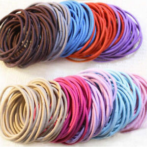 100x-Girl-039-s-Elastic-Rubber-Hair-Ties-Band-Rope-Ponytail-Holder-Fashion-Scrunchie