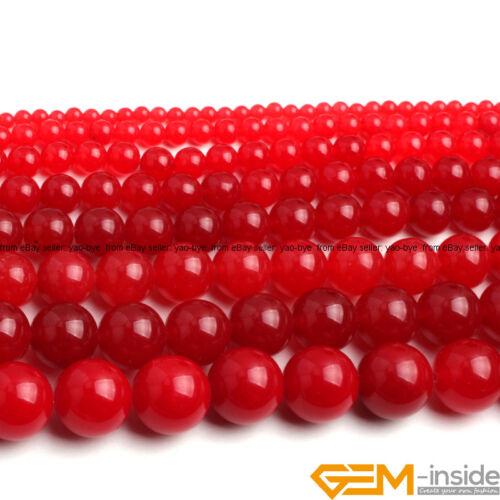 """Red Jade Gemstone Round Beads For Jewelry Making Strand 15/""""4mm 6mm 8mm 10mm 12mm"""