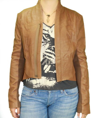 VEDA Women/'s Stone Zipper Up Hi-Lo Hem Tail Back Leather Jacket VIX0116 Sz M NWT