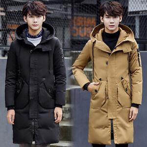 Men Hooded Down Thick Outdoor Parka Winter Jacket Casual Long Coat Korean Style Ebay