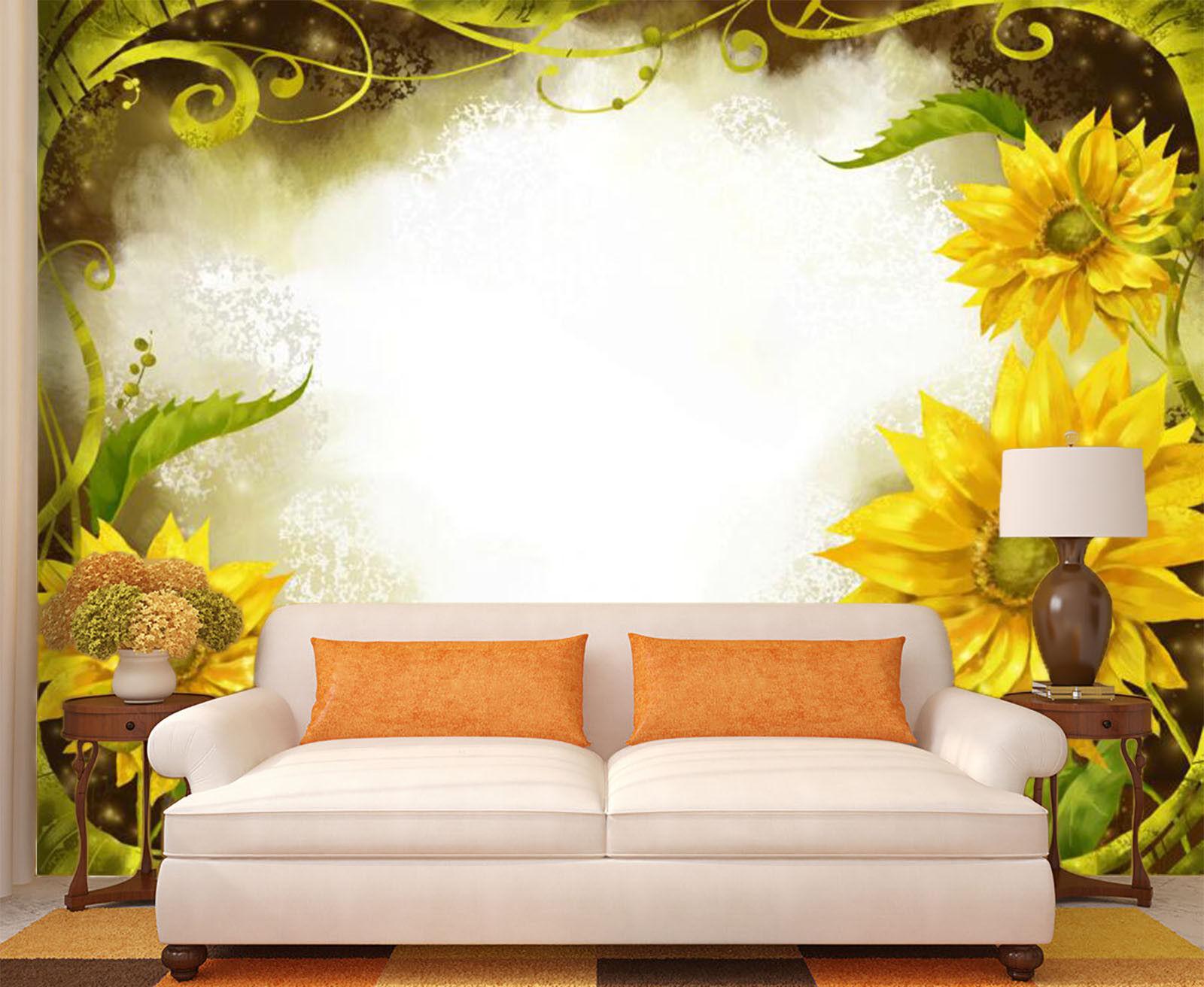 3D Sunflower Theme 74 Wall Paper Murals Wall Print Wall Wallpaper Mural AU Carly