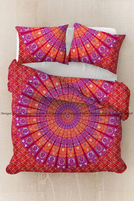 Indian duvet doona cover cotton quilt cover mandala bohemian bedding blanket set