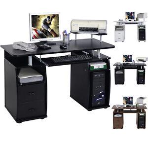 Computer Desk Mdf Black Home Office Pc Table Work Station