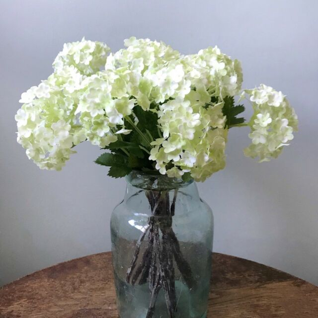 5 Stems of Green Artificial Snowball Hydrangeas Viburnum Faux Silk Wild Flowers