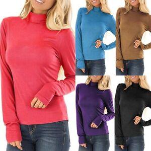 Women-Mock-Neck-Long-Sleeve-T-Shirt-Turtleneck-Tops-Slim-Solid-T-Shirts-Blouse