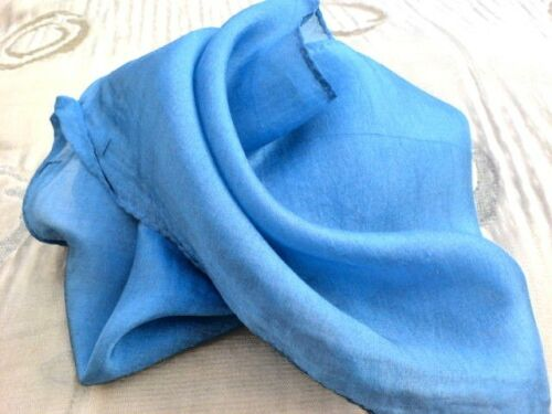 "INDIAN 100/%PURE SILK HANDMADE SQUARE SCARVES 21/""x 21/"" 5 PLAIN COLOURS £7.50 each"