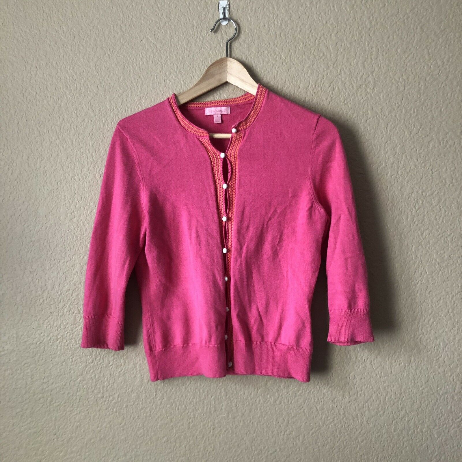 Lilly Pulitzer Pink 100% Cotton Cardigan Sweater Size Small