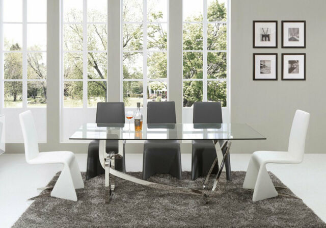 Modern Dining Room Furniture 7pcs Rectangular Glass Top Table Chairs Set Cv9 For Sale Online