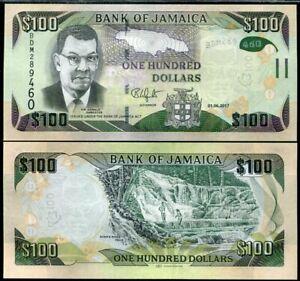 JAMAICA 100 DOLLARS 2017 P 95 HYBRID UNC