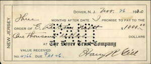 1920 DOVER NEW JERSEY Contract the dover trust company PAYMENT AGREEMENT E.BETRA