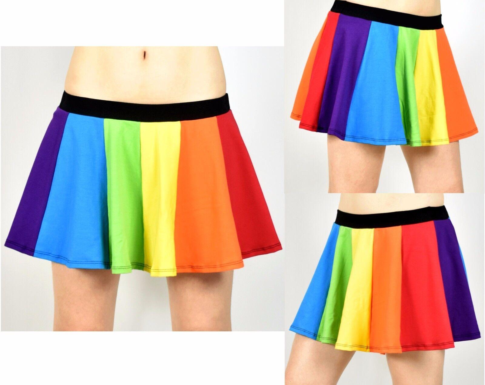 Rainbow Circle Skirt cotton spandex mini XS S M L XL 2XL 3XL plus size stretch