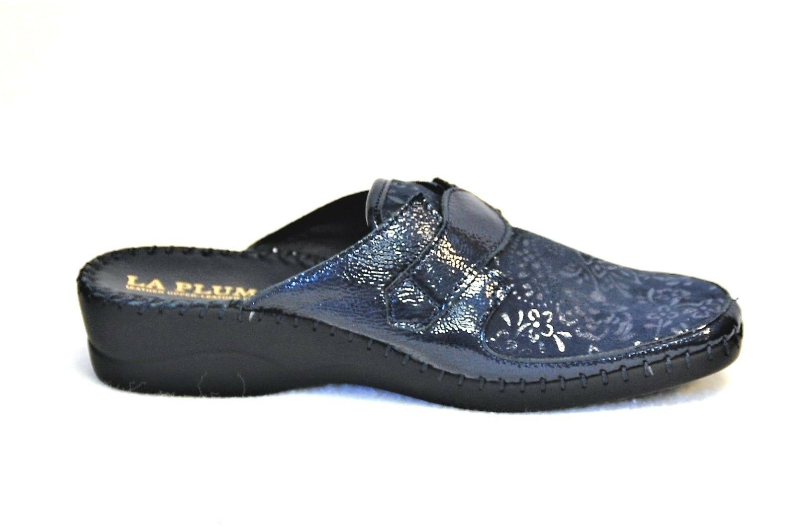 La Plume Garden Navy Navy Navy Patent Leather and embossed suede slip on Eur 40 0bf4f4