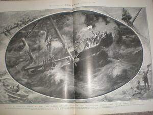 Loss-of-the-French-Coaling-ship-the-Quillota-off-Sunderland-1901-old-print