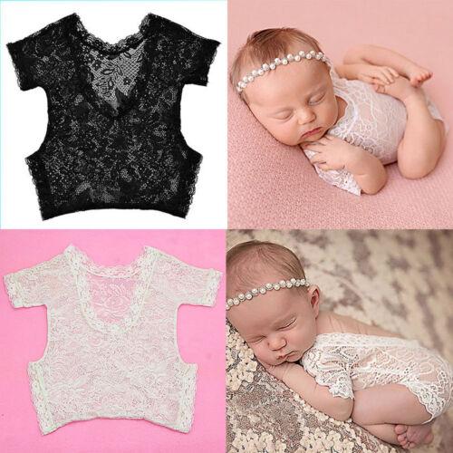 Newborn Infant Baby Photography Props Filles Noeud Dentelle Gilet Révélateurs Ange Photo
