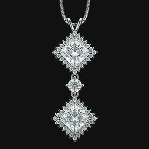 "1.00 Ct Cluster Diamond Halo Drop Pendant Fine 14k Yellow Gold GP 18/"" Necklace"