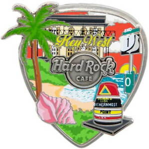 Hard-Rock-Cafe-KEY-WEST-2020-Core-City-3-D-COLLAGE-Guitar-Pick-PIN-New-on-Card