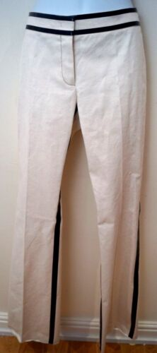 Uk10 Pantaloni Cream gamba finiture Blend Lam con nere Cotton Derek Pantaloni larga a Flax ZW1wqxg4R