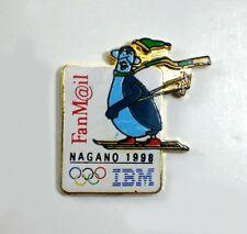 1998 IBM Fanmail Mascot Skiing Olympic Pin Nagano Japan   NEW!