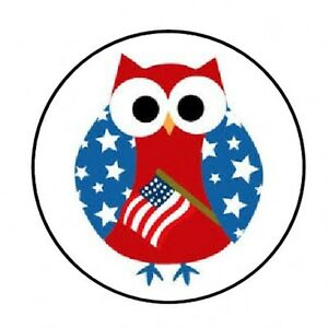 48-PATRIOTIC-OWL-4TH-JULY-ENVELOPE-SEALS-LABELS-STICKERS-1-2-034-ROUND