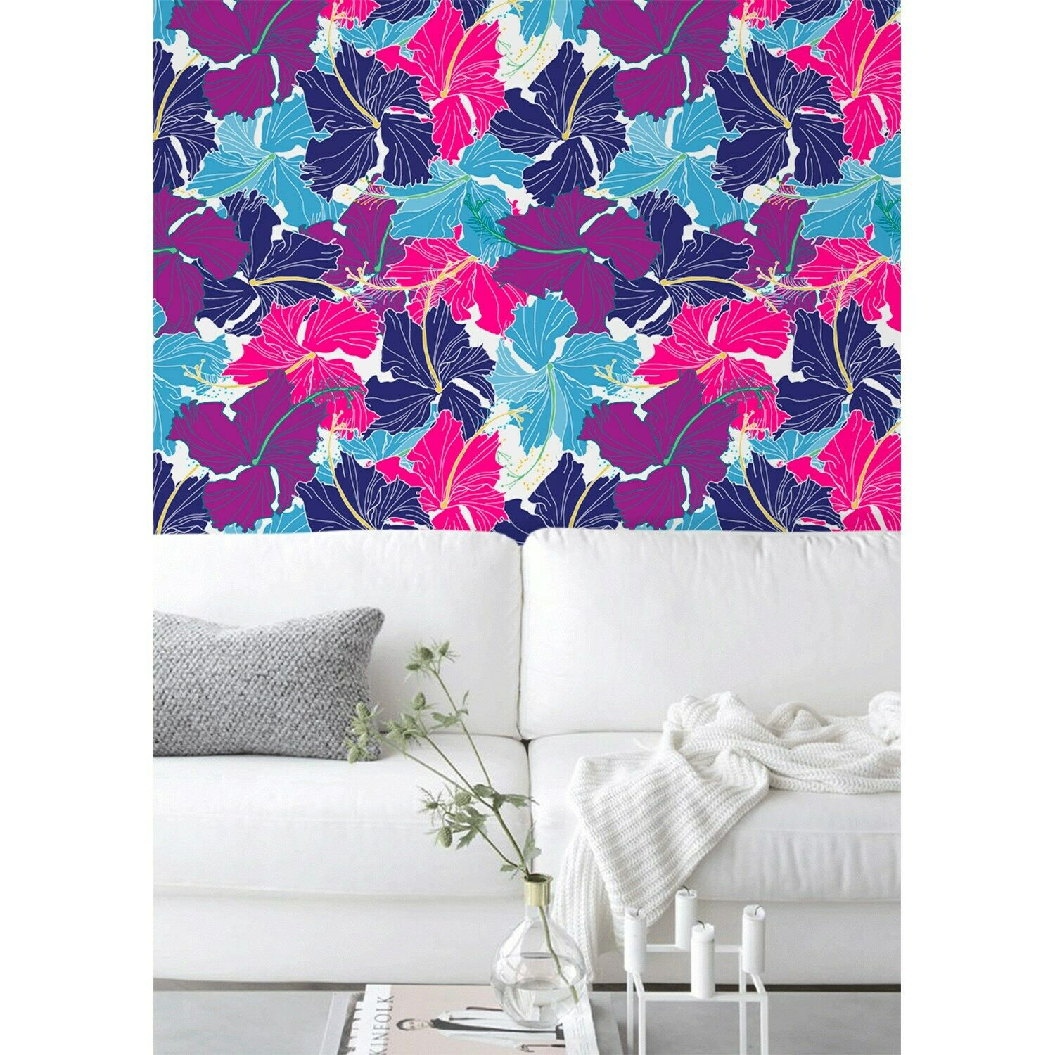 Draw Hibiscus Roll Non-Woven wallpaper Traditional mural Home bedroom decor