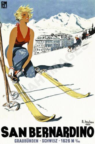 San Bernadino vintage ski resort winter train travel poster repro 16x24