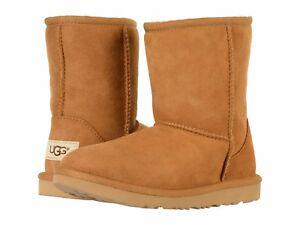NEW KIDS GIRLS SIZE 3 CHESTNUT UGG CLASSIC II SUEDE SHEEPSKIN BOOTS 1017703K