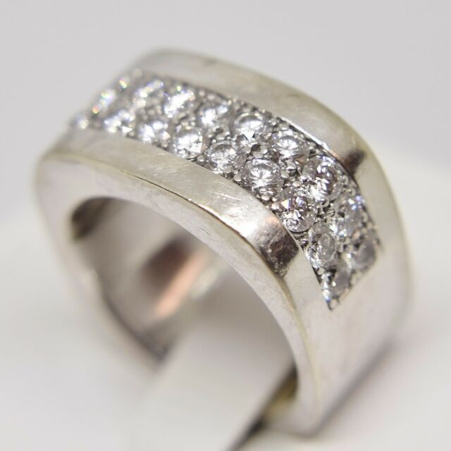 14k White Gold Double Row Wide Diamond Ring, 5.25 Ring Size