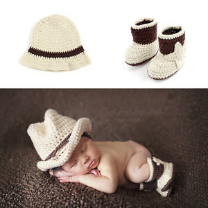 f453d6ee7 Baby Photography Props Cowboy Hat Shoes Crochet Costume Knitted ...