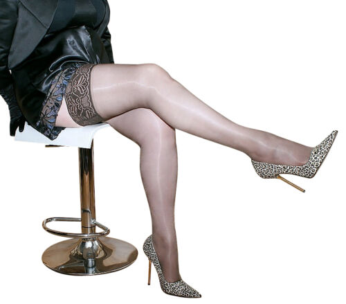 3 x NYLONZ Luxury Italian Sheen LaceTop Hold Ups Stockings BARELY BLACK S M L