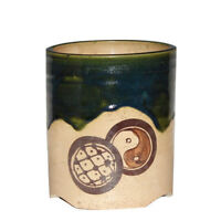 Large Oribe Japanese Arts & Crafts Pottery Old or Antique Brush Pot Vase Mingei