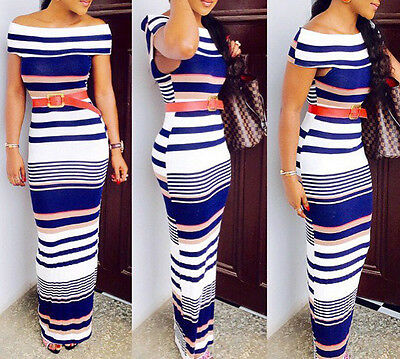 Women Sexy boat neck striped Bodycon Long Party clubwear cocktail Dress Summer