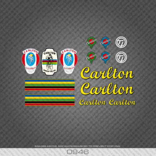 0946 Carlton Bicycle Stickers Extended Decals Transfers Yellow//Black