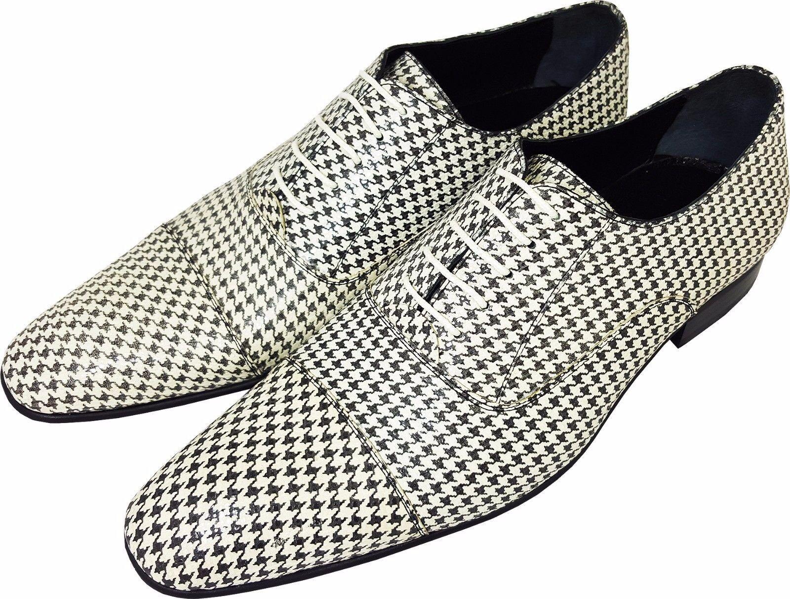 Original Chelsy-Italien CREATEUR Pantoufles Motif de quadrillage blanc noir 45