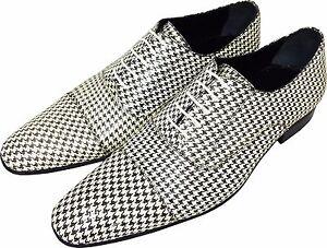 Original Chelsy - Italienische Designer Slipper Rastermuster weiß / schwarz 41