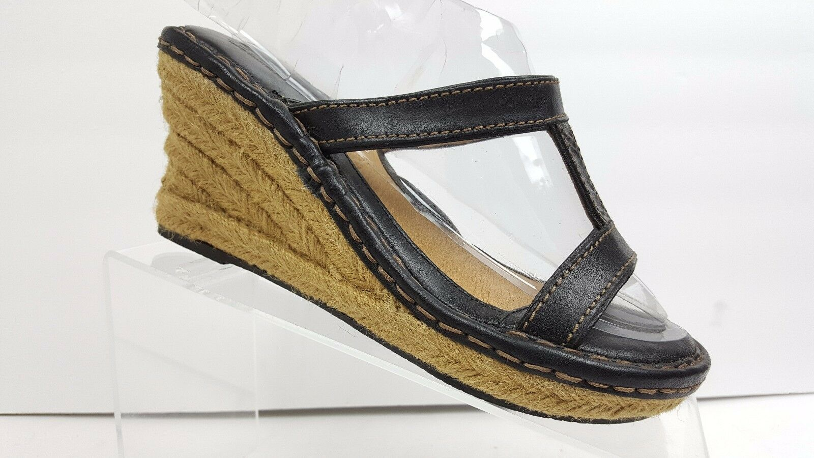 Born Black Leather 6 & Jute Wedges Sandals Women's US 6 Leather Heels 3