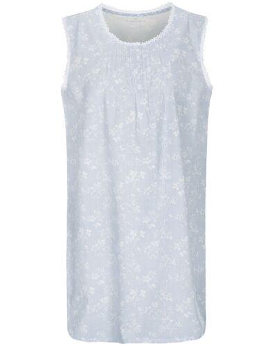 Hellblau Weiß Basefield Nachthemd mit Blumenmuster ohne Arm