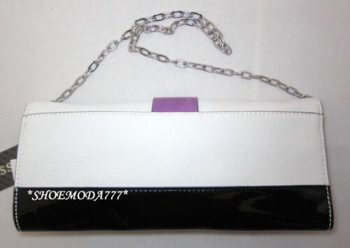 GUESS ASTRELLA Mini Bag Flap Purse Clutch Black Pink White Multi Patent Chain