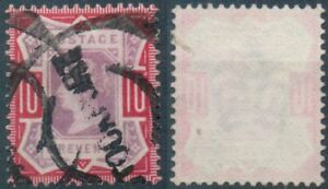Gran-Bretagna-MER-n-96-timbrato-Regina-Vittoria-10-pence-TEN-PENCE