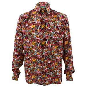 online retailer 48892 742b7 Details zu Herren laut Retro Hemd Psychedelische Funky Party Geschneidert  Rot Blumenmuster