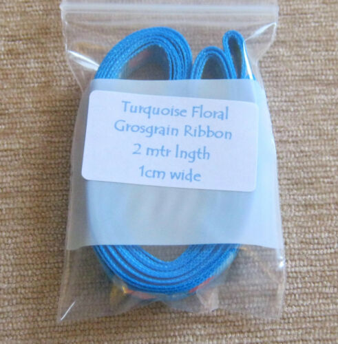 2mtr lngth * Nuevo * Cinta del grosgrain 1 cm de ancho Turquesa Floral