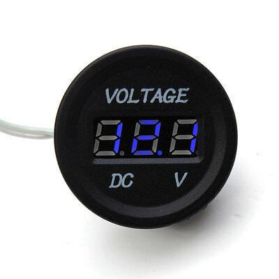 6V-30V Car Motorcycle Blue LED Digital Display Volt Voltmeter Waterproof Meter