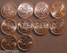 1980 TO 1989 BU CANADA 1 CENT MINT STATE (10 COINS)