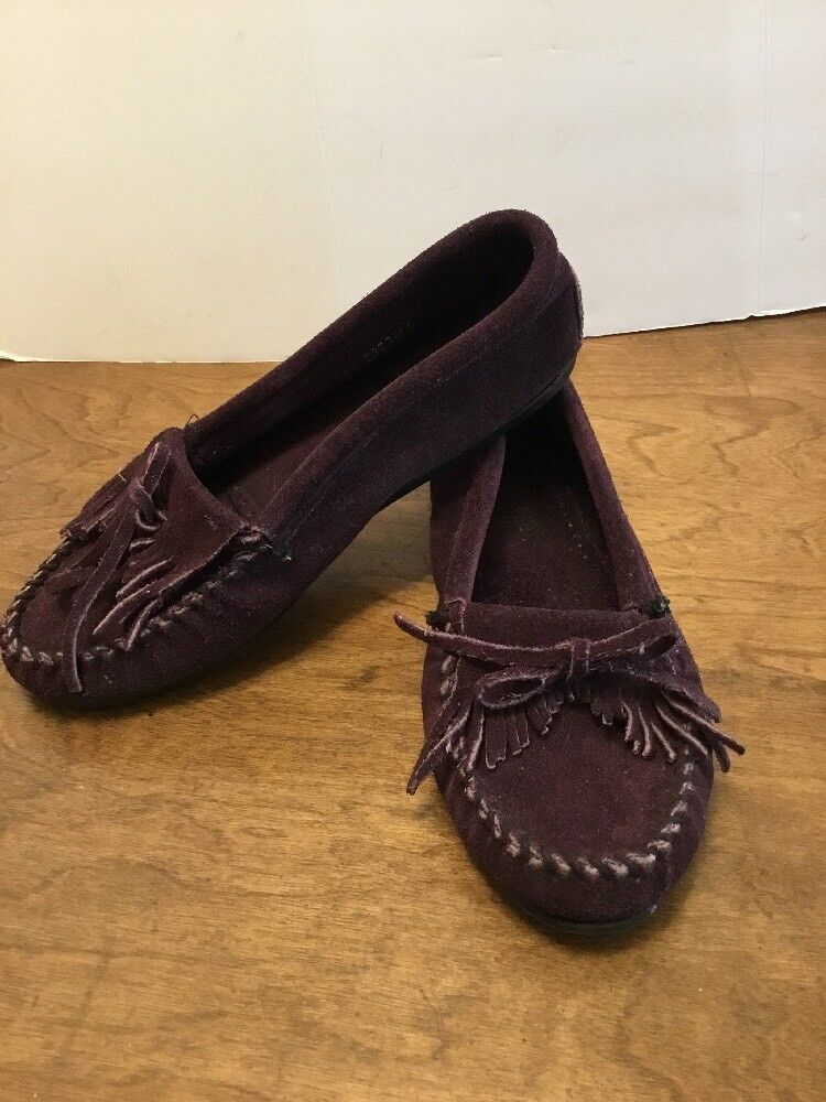 Womens Sz 8 Minnetonka Dark Suede Purple Kilty Moc Moccasin Suede Dark Shoes Hardsole 40ad63