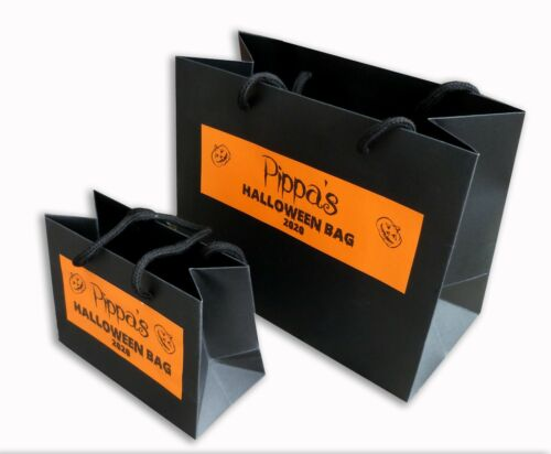 Personalised black Halloween trick or treat gift bag orange party boy girl