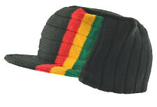 Rasta Visor Beanie Cap Stripe Jamaica Reggae Hat-Black Red Yellow Green