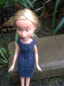 Hand Knitted  Doll Clothes For Bratz  Made Under   Pretty Blue Longer Dress - <span itemprop='availableAtOrFrom'>Oadby, Leicestershire, United Kingdom</span> - Hand Knitted  Doll Clothes For Bratz  Made Under   Pretty Blue Longer Dress - Oadby, Leicestershire, United Kingdom