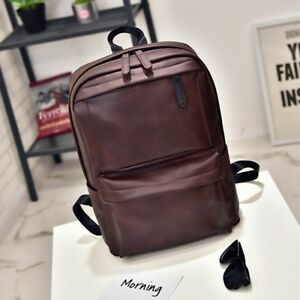 a51faa8d9d9c Image is loading Vintage-Men-Women-Leather-Backpack-Laptop-Satchel-Travel-