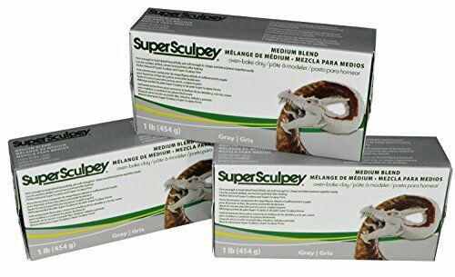 NEW Super Sculpey Medium Blend Gray Oven Bake Clay  of and Firm 1 Lb Pack 3